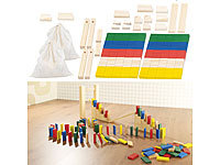 Playtastic 2er-Set 263-teilige Domino-Sets mit Holzsteinen & Action-Elementen